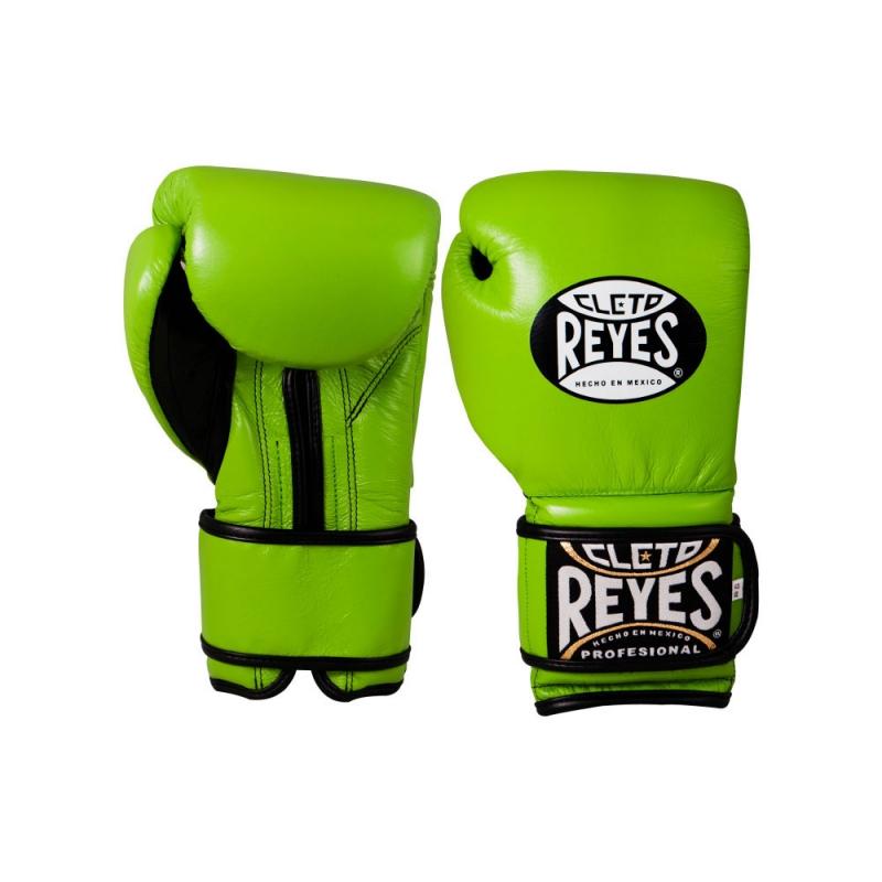 Guantes Cleto Reyes Con Velcro 12 Oz. Verde Limón