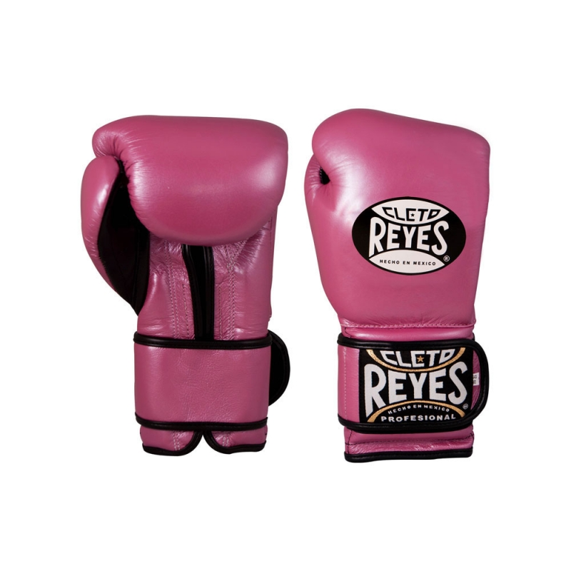 Guantes Cleto Reyes Con Velcro 16 Oz. Rosa