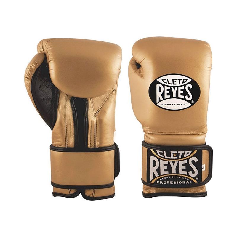 Guantes Cleto Reyes Con Velcro 12 Oz. Dorado