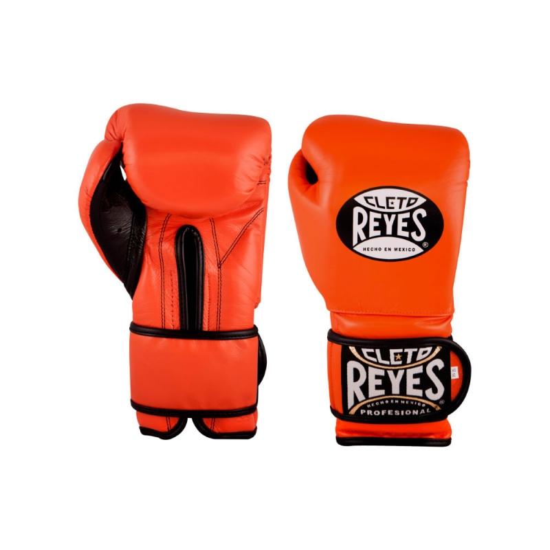 Guantes Cleto Reyes Con Velcro 14 Oz. Naranja